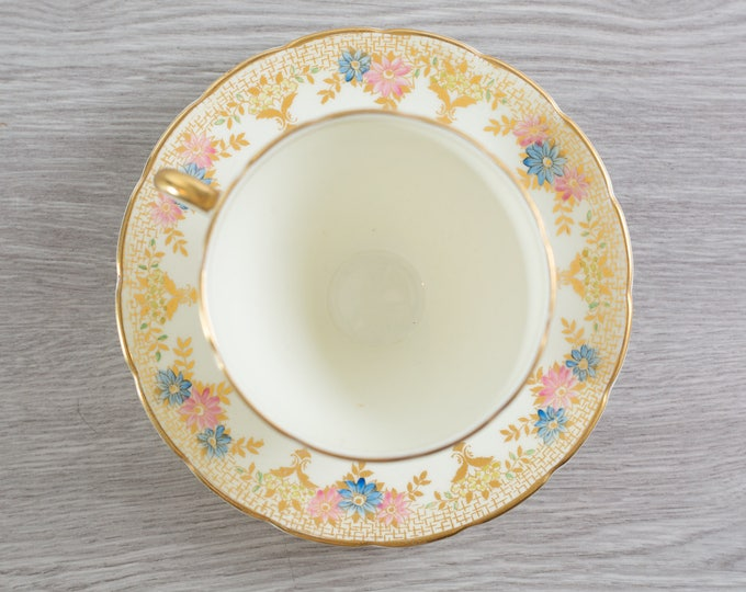 Foley Teacup - Vintage White and Gold Fine Bone China Teacup and Saucer with Flowers - Made in England