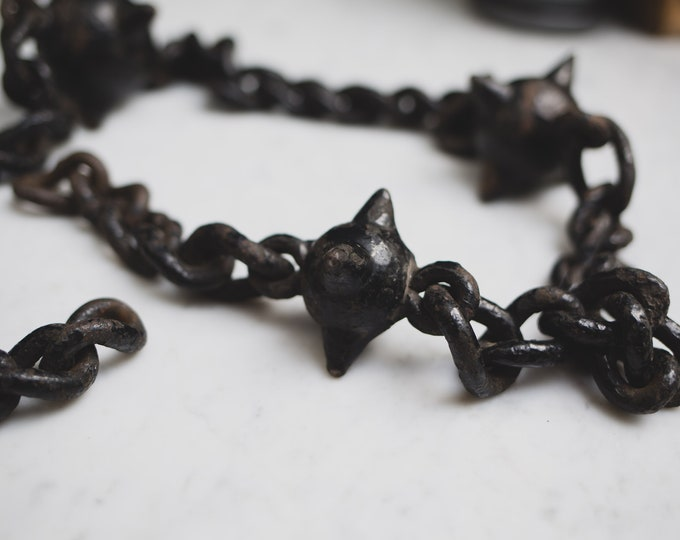 Antique Chain Shot - Black Iron Chain and Spiked Ball - Decorative Medieval War Era Wartime Weaponry - Military Memorabilia