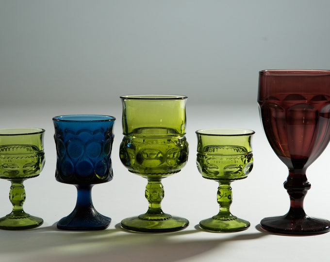 5 Vintage Glass Goblets - Green, Blue Purple Wine Glasses - Mismatched Cocktail Stemware Barware