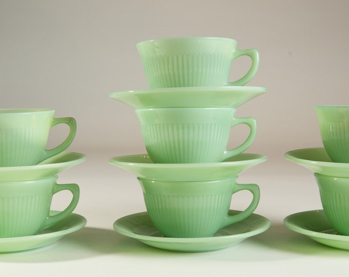 Vintage Jadeite Mugs - Green Milk Glass Mugs and Saucers - 8oz Coffee or Tea Mugs - Fire King Ovenware Made in USA Collectible Mug