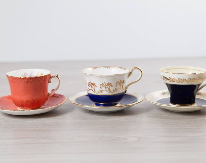 Vintage Teacups - Set of 3 Tea Cups and Saucers with Floral Pattern - Flowers Bone China - Aynsley Blue, White, Gold, Coral