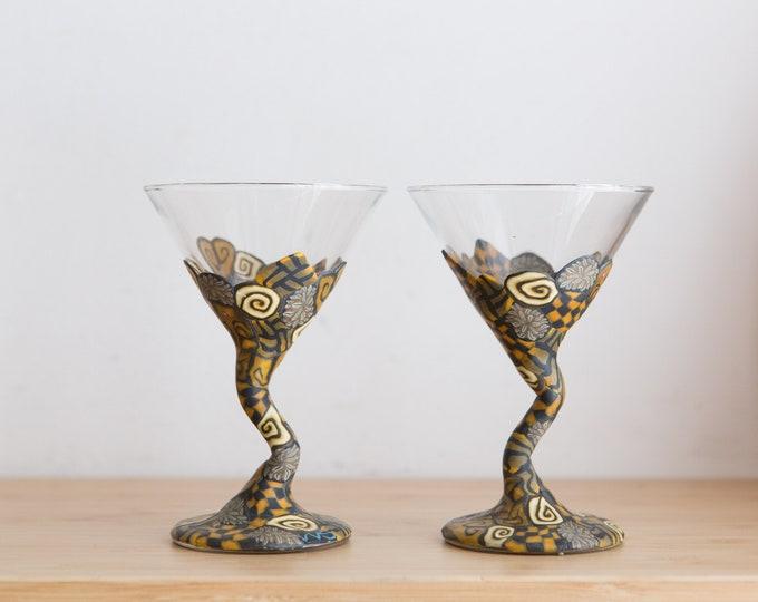 Handmade Martini Glasses - 3.5oz Pair of Colourful Art Glass Style Cocktail Stemware Glasses