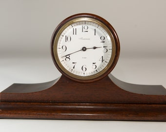Vintage Wind up Clock - WORKING Antique Wood 8-day Ansonia Mantle Clock - Victorian Style Round Face Clock