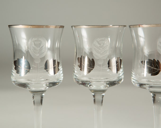 4 Aperitif Glasses with Silver Coloured Leaf Decals - 2.5oz Platinum Rim Small Vintage Sipping Glasses with Etched Flowers- Floral Glassware