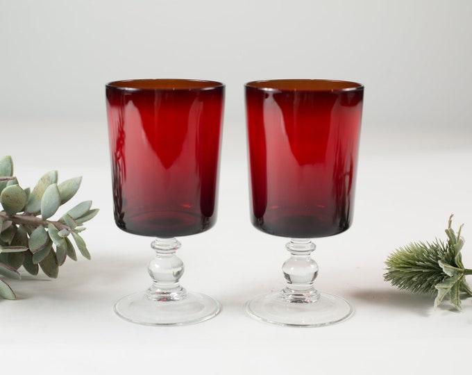 2 Luminarc Cavalier Ruby Red Stemware Glasses  - 8 ounce Pair of Diamond Starburst Glass Stemware