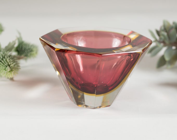Cranberry Murano Art Glass Dish - Handblown Red Studio Glass - Mid Century Modern Geometric Glass Home Decor