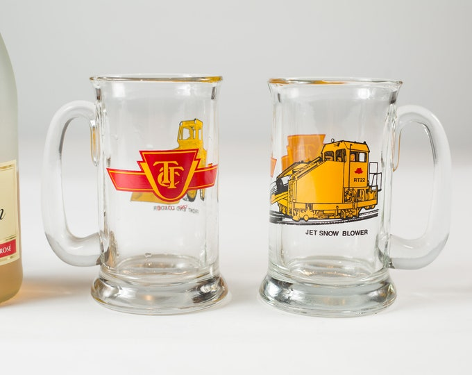 TTC Beer Mugs - Toronto Transit Commission Glasses - Vintage Drinking - Front End Loader and Jet Snow Blower Canadian City Glassware Barware