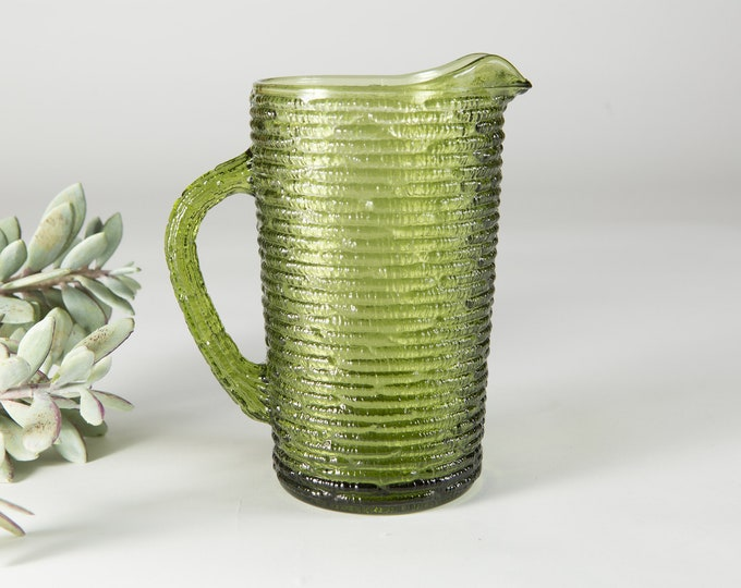 Green Glass Pitcher - Vintage Juice or Cocktail Barware Jug - Vintage Mid Century Modern Icicle Glass Textured Design
