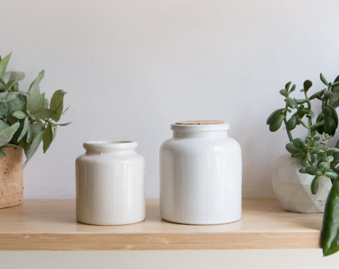 Vintage Ceramic Jars - Lab Lagny Mustard Jars - Off-white Colored Ceramic Pot for Plants or Pens - Retro French Kitchen Utensil Holders