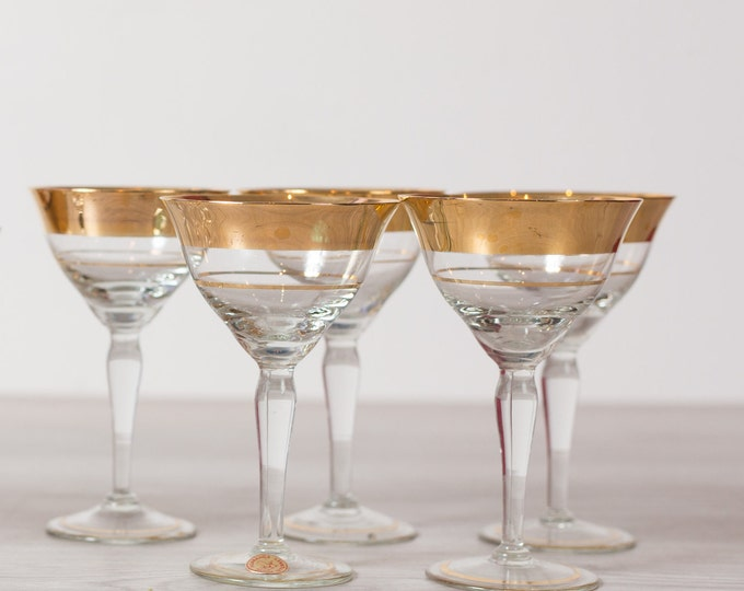 Champaign Flute Bar Glass - 1-Piece Gold Banded Vintage Cocktail Glass - Gold Rimmed Hollywood Regency Barware