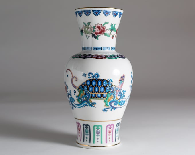 Vintage Asian Vase - The Journey of the Heavenly Tortoise - FM 1985 Fine Porcelain - Ceramic Chinese Urn Pottery