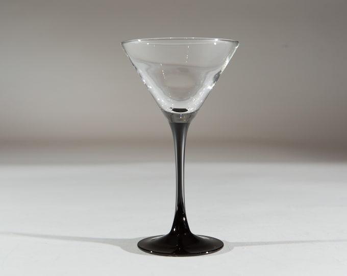 Vintage Martini Glasses - 1980's Black Stem Glasses - New Year's Eve Party Celebration Glassware - Liquor Stemware / Mother's Day Barware