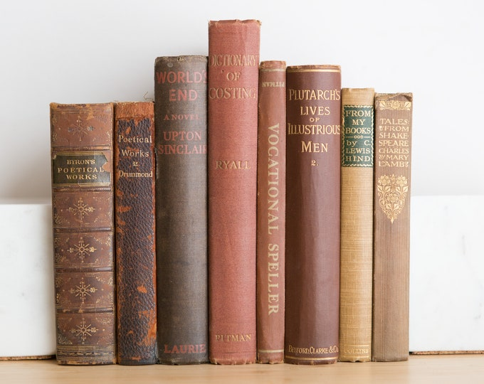 Vintage Red Books - Decorative Burgundy, Cream and Brown Coloured Book Covers For Home Library or Interior Design - Christmas Colour Decor