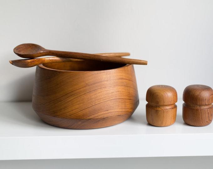 Teak Salad Bowl, Tongs and Salt and Pepper Shakers - Vintage Solid Exotic Wood Food Safe Serving-Hand Carved Hardwood / Danish Modern Nordic