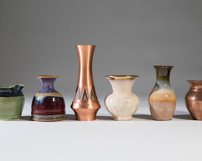 Vintage Ceramic Vase - Set of 6 Studio Pottery Jars - Mid Century Modern Nordic Scandinavian West Germany Copper Bubble Vase