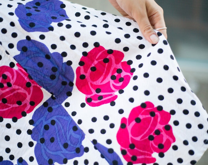 Vintage Large Flower Polka Dot Skirt with Bold Purple and Fuschia Pink Floral Pattern / Summer Skirt / Beach, Cottage, City Attire