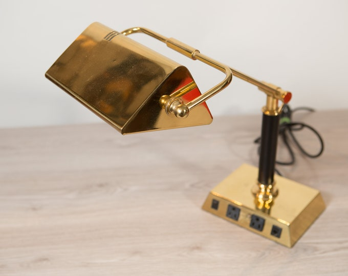 Vintage Brass Lamp - Gold Colored Mid Century Model Style Adjustable Desk Lamp - 40 Watt Type T Bulb
