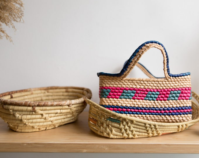 3 Vintage Small Coil Baskets - Modern Boho Decor - Muted Sisal / Rattan / Wicker Style Handwoven African Blessing Basket