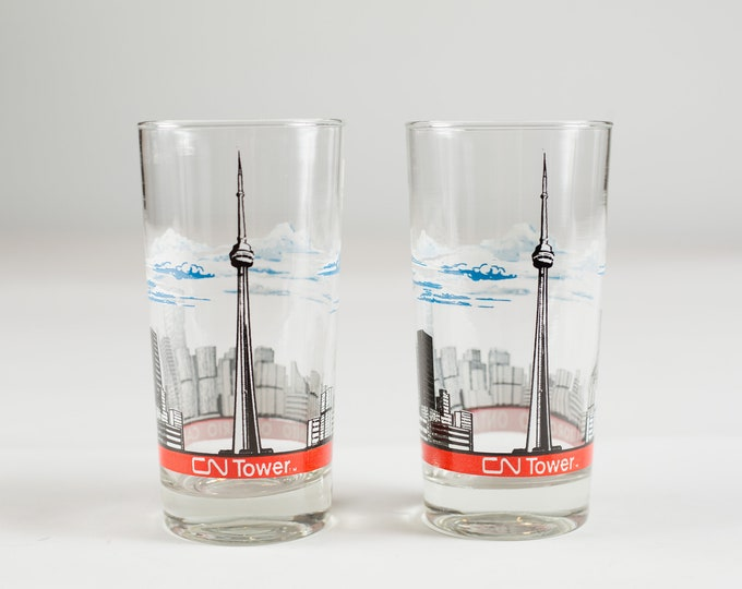 Toronto Cocktail Glasses - Vintage Drinking Highball Glasses with Toronto CN Tower and Cityscape / Canadian City Glassware Barware