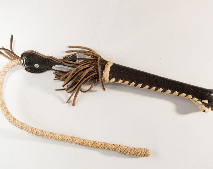 Vintage Bull Whip -  Leather Animal Hoof Flogger - Real Deer hoof taxidermy Animal whip