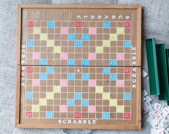 Vintage Scrabble Board Game - Rare Wood Fold-up Scrabble Board with White Tiles and Plastic Green Letter Seats