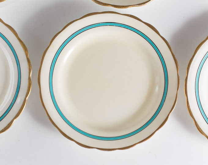 8 New Chelsea Staffs Side Plates - Blue, Gold and White Antique Bread Plates with Blue Stripes - Made in England Dinnerware