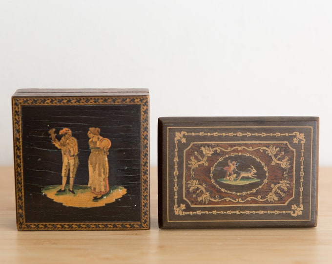 Vintage Trinket Boxes - Two Handmade Wood Inlayed Italian Made Jewelry Boxes