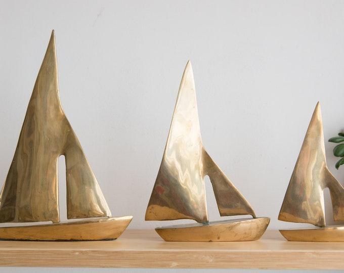 Vintage Brass Sailboats - Set of 3 Gold Colored Ship Ornaments - Office Desk Decor - Nautical Decor - Gift for Dad - Gift for Him