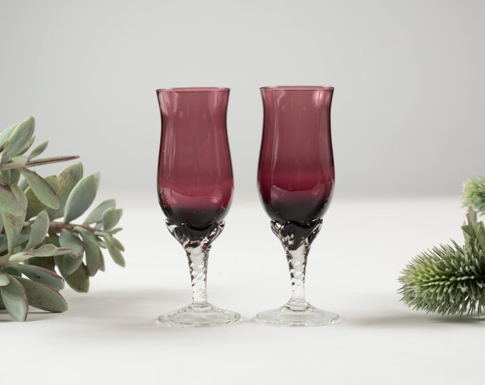 2 Amethyst Purple Aperitif Glasses - Small Sipping Glasses with Clear Twisted Stems - Mid-Century Boho Modern Collectible Glassware