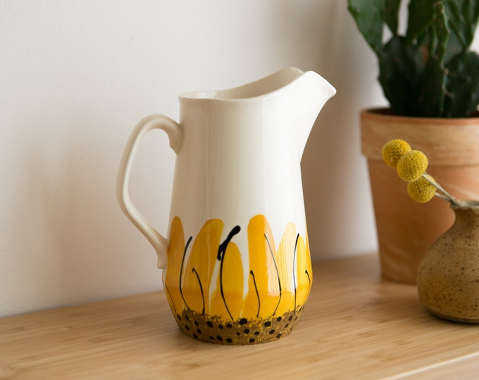 Yellow Ceramic Pitcher - Vera Neumann Sunflowers Glaze Jug - Island Worcester Jamaica Vera - 1960's Made in Jamaica by Island Worcester