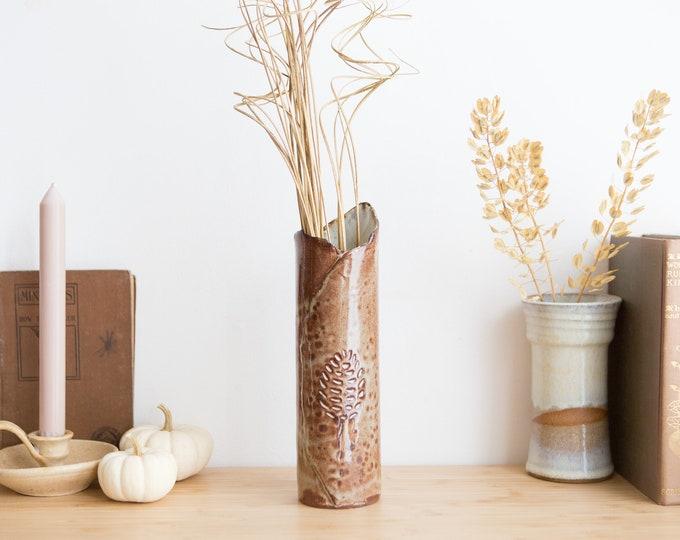 Handmade Ceramic Vase - Brown Earthy Vintage Boho Glaze Hand Built Vase with Leaf Motif - Autumn Studio Pottery - Earthtone Art Canister