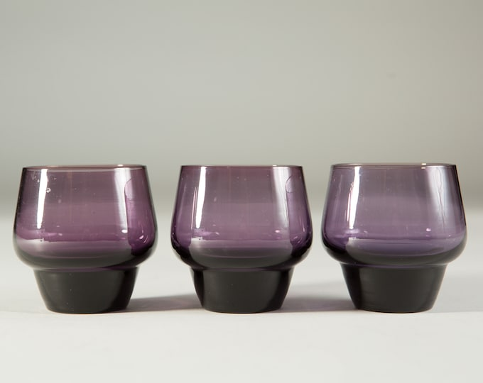 3 Amethyst Purple Aperitif Glasses - Small Sipping Shot Glasses - Mid-Century Boho Modern Collectible Glassware