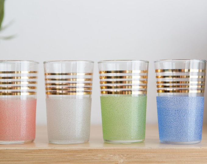 Vintage Textured Aperitif Glasses with Gold Bands - Small Cocktail Glasses - Mid Century Modern Hollywood Regency Boho Design