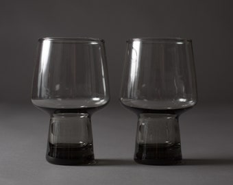Pair of Vintage Smoke Grey Bubble Top Drinking Tumbler Glasses for Cocktails, or Beer (MCM Mad Men 1960's Spherical Circle Style Barware)