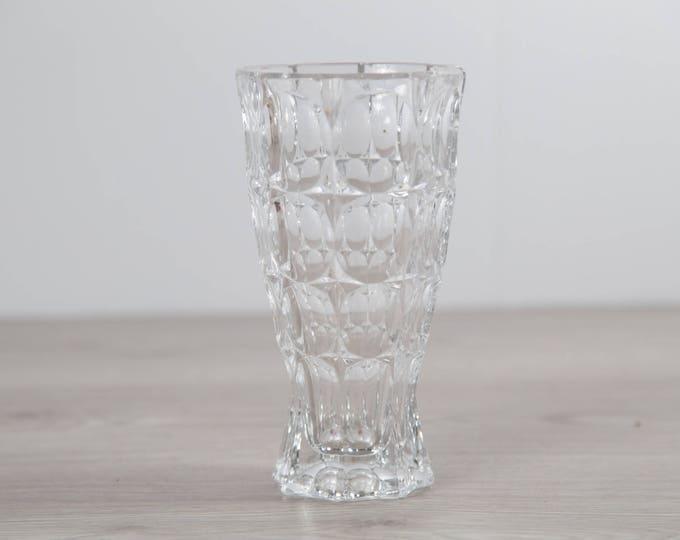 Vintage Crystal Glass Thumbprint Vase - Elegant Flower Vase - Home Decor