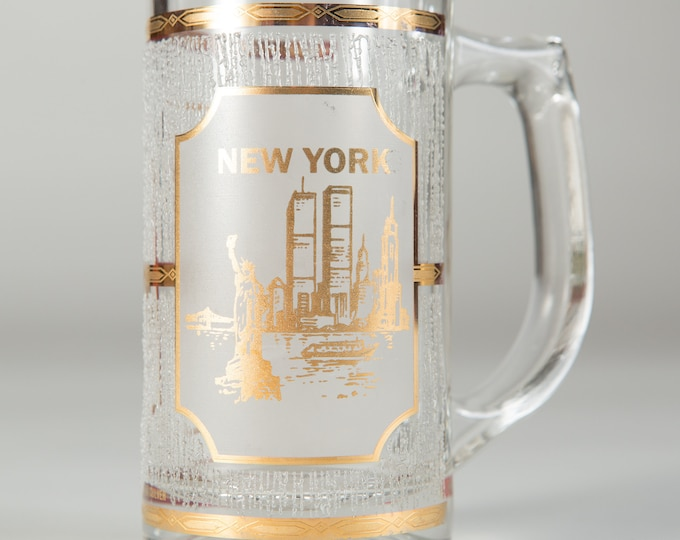 New York Souvenir Mug - Vintage Beer or Cocktail Glass Mug with 22k Gold and World Trade Centre - Gift for Dad - Father's Day Gift