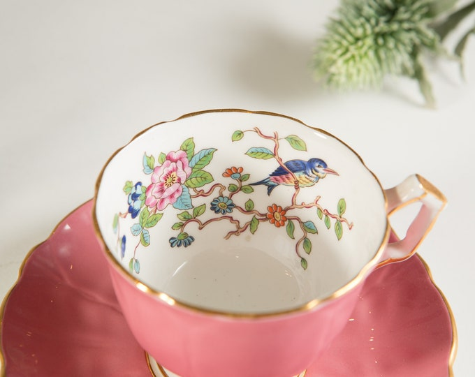 Vintage Bone China Teacup - Aynsley Tea cup and Saucer with Pink Gold with Bird and Floral Flower Pattern - Made in England