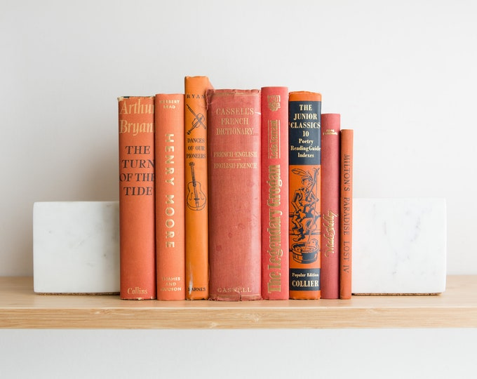 Vintage Orange Books - Decorative Burnt Orange Coloured Book Covers For Home Library or Interior Design - Christmas Colour Decor
