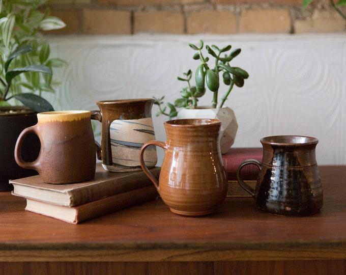 4 Ceramic Handmade Mugs - Brown Studio Pottery - Vintage Mismatched Coffee or Tea Mugs