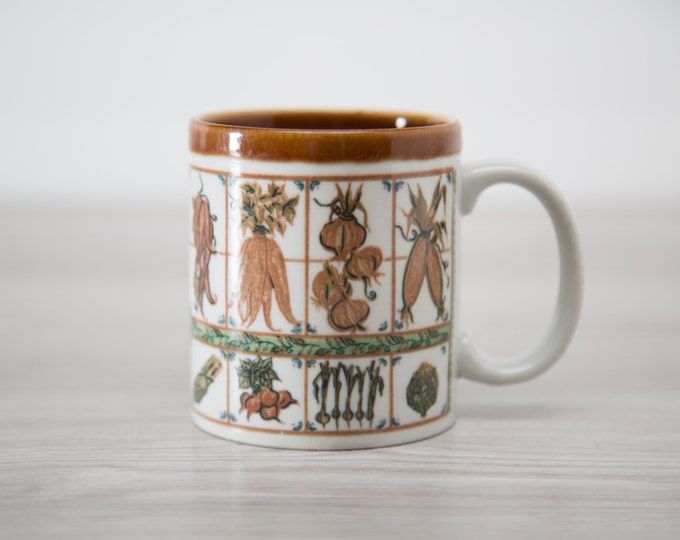 Vintage Ootagiri Mug with harvest Vegetables Pattern- Carrots, Vegetables, etc