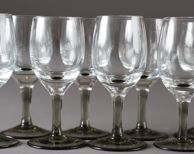 10 Vintage Apéritif Glasses - Clear and Grey Glass Cordial Glasses - Mid Century Modern Liqueur Glasses