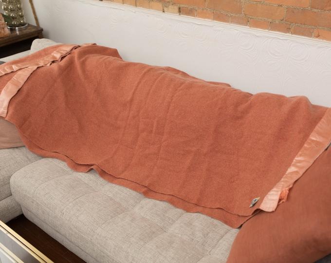 Burnt Red Wool Blanket - Large Vintage Kenwood All Virgin Wool Made in Canada Throw - Terracotta Coloured Blanket