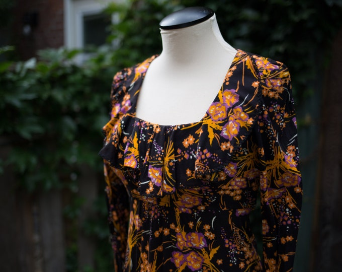 Vintage Black Floral Maxi Dress with Purple, Orange and White Flower pattern / Size 5 / Mod Hawaiian Inspired Long Dress / Union Made