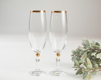 Vintage Champaign Flutes - Gold Bubbled Stem and Gold Rims - Mid Century Modern Victorian Style Liquor Stemware / Mother's Day Barware