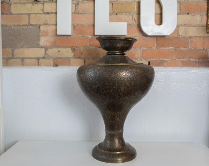 Vintage Middle Eastern Vase - Large Metallic Brass Metal Bubble Bust Vase with Intricate Details