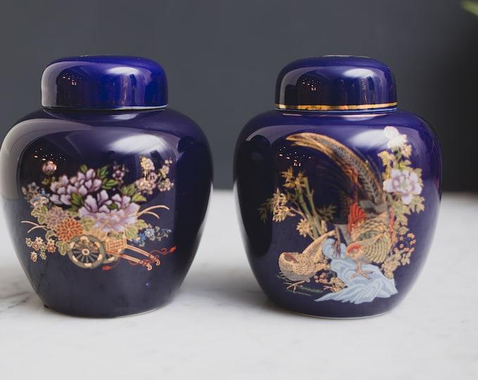 2 Vintage Cobalt Blue Ginger Jars - Asian Style Peacock Bird Ceramic Lidded Pottery Vases - 1980's Flower Vase with Gold Leaf Motifs