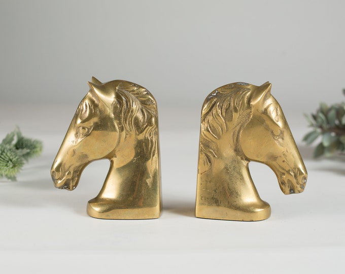 Vintage Brass Horse Bookends - Gold Coloured Equestrian Decor - Sand Filled Book Ends