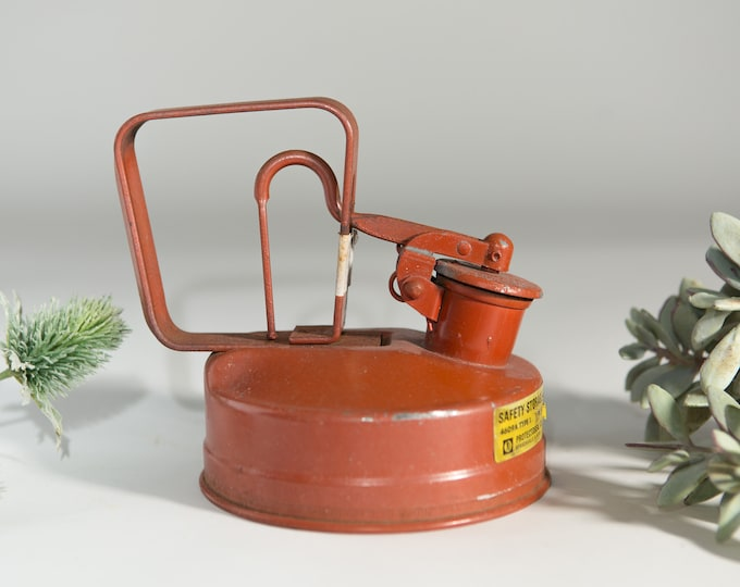 Vintage Safety Storage Can - Red Metal Gas Can - Industrial Deco - Gift for Dad - Father's Day Gift - Garage Decor