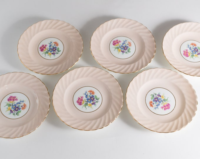 7 Vintage Side Plates - Set of 7 Aynsley Bone China Dusty Rose Floral Plates with Flowers - Made in England Dinnerware