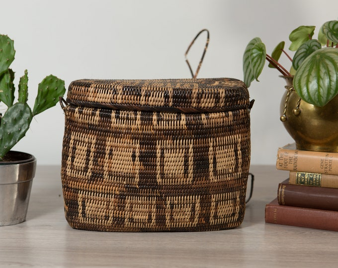 Woven Wicker Backpack - Vintage Brown Rattan Grass Lidded Palawan Basket from the Philippines -Rustic traditional Indigenous Tribal Decor